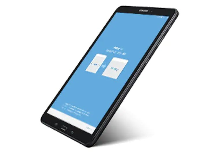 Samsung Galaxy Tab A with Its Transfer Screen Facing Up, Angled to the Left
