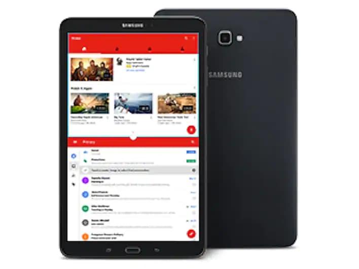 Two Samsung Galaxy Tab As Facing Forward and Facing Away, Back to Back