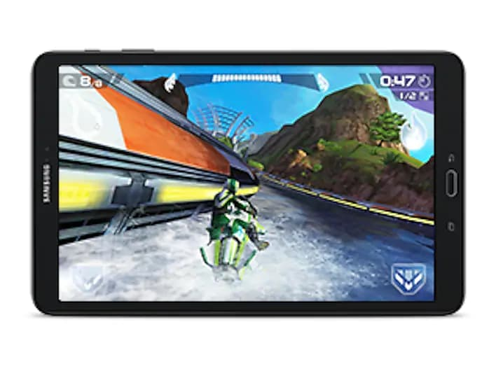 Samsung Galaxy Tab A in Landscape Mode, Showing a Water Racing Video Game