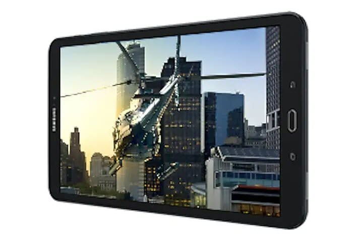 Samsung Galaxy Tab A Lying Down Horizontally Showing a Video of Helicopter in a City