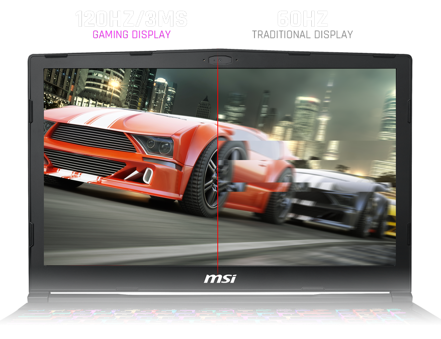 MSI Gaming Laptop Screen Facing Forward, Showing Cars Racing Through a City Street at Night, Above the Display is 120HZ/3MS GAMING DISPLAY - 60HZ TRADITIONAL DISPLAY