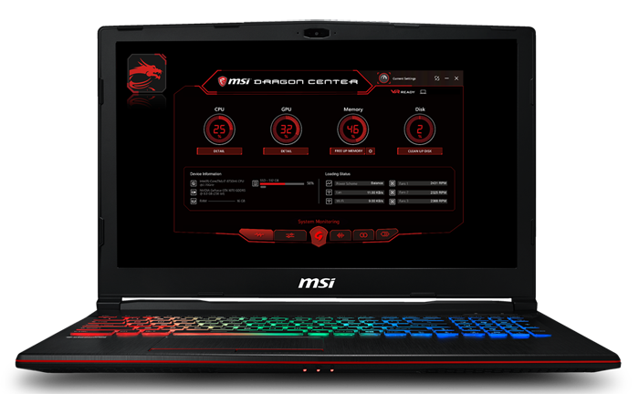MSI Gaming Laptop Open and Facing Forward with MSI Dragon Center Software on Screen