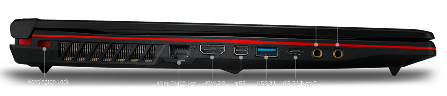 MSI Gaming Laptop Closed, Facing to the Right with text and graphics pointing out the kensington lock, killer e2400 lan port, hdmi 2.0 port, minidisplayport, USB 3.1, USB 3.1 Type-C, Headphone out and mic in ports