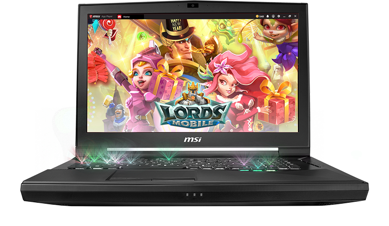 Gigabyte GT75 TITAN Gaming Laptop open and facing forward with the title screen for LORDS MOBILE
