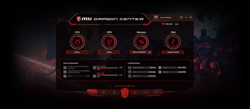 MSI Dragon Center APP PLAYER software window