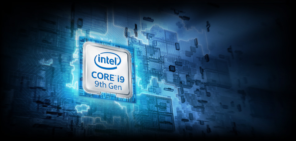 Intel Core i9 9th Gen badge in stylized circuitry