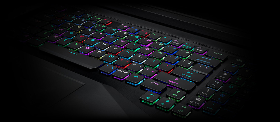 Gigabyte GT75 TITAN Gaming Laptop rainbow RGB-lit keyboard