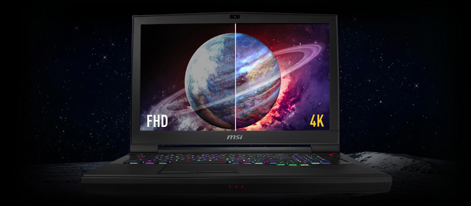 Gigabyte GT75 TITAN Gaming Laptop open and facing forward with a split image of a intergalactic planet, the left side is Full HD quality and the right side is 4K quality