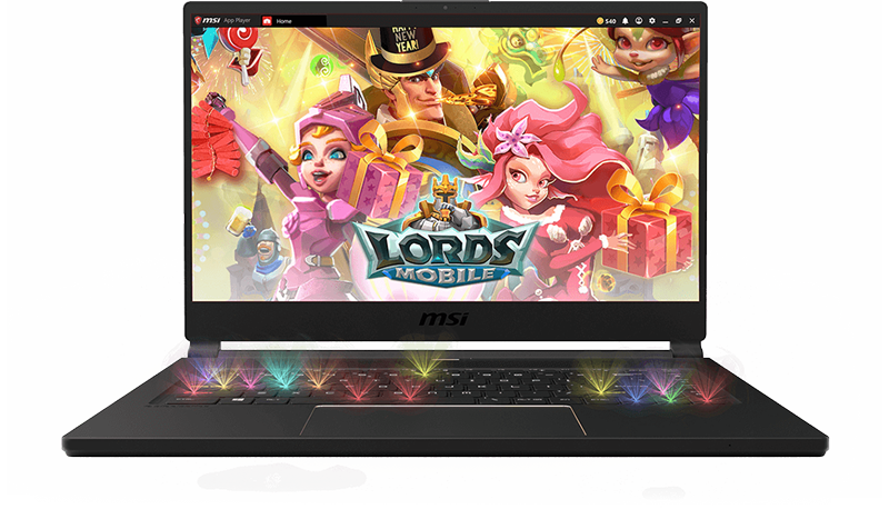 Gigabyte GS65 Stealth Gaming Laptop open with the LORDS MOBILE title screen on screen