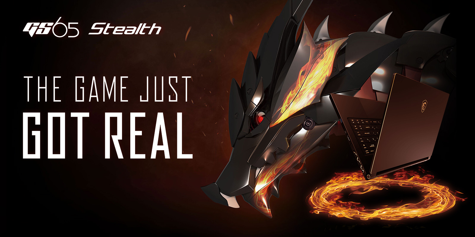 Gigabyte GS65 Stealth Gaming Laptop open and floating above a ring of fire next to a metal, red-eyed dragon. There is text that reads: THE GAME JUST GOT REAL