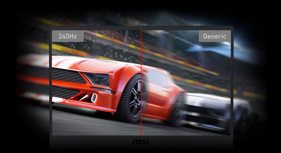 Gigabyte GS65 Stealth Gaming Laptop screen split in two to show clear 240Hz quality versus blurry generic quality of cars racing by on a racetrack