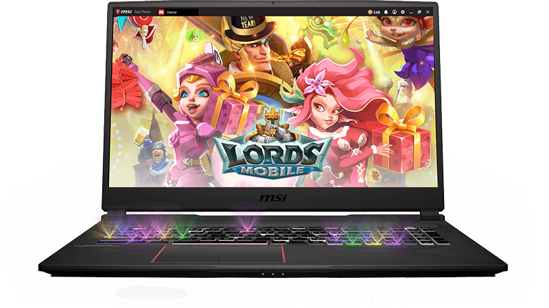 Gigabyte GE75 Raider Gaming Laptop open with the LORDS MOBILE title screen on screen