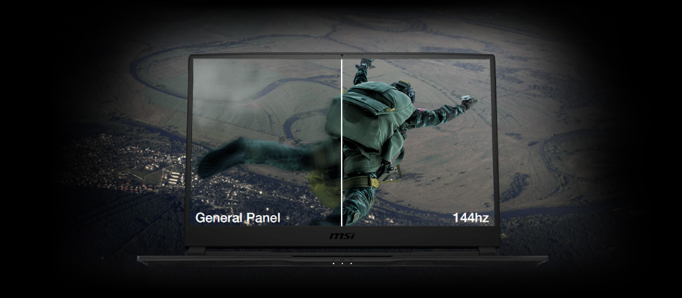 Gigabyte GE75 Raider Gaming Laptop screen split in two showing a parachuter freefalling down, the left side is blurry showing general panel quality and the right shows sharp 144Hz picture quality