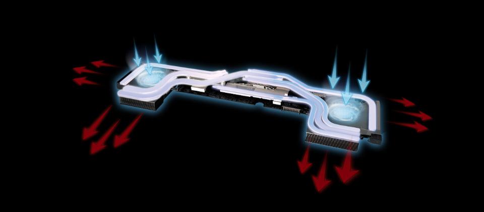 Gigabyte GL73 Gaming Laptop's interior cooling system
