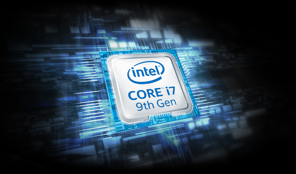Intel Core i7 9th Gen badge on an electrified circuitry background