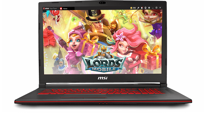 Gigabyte GL73 Gaming Laptop Open and Facing Forward with the LORDS MOBILE game title screen as the screenfill