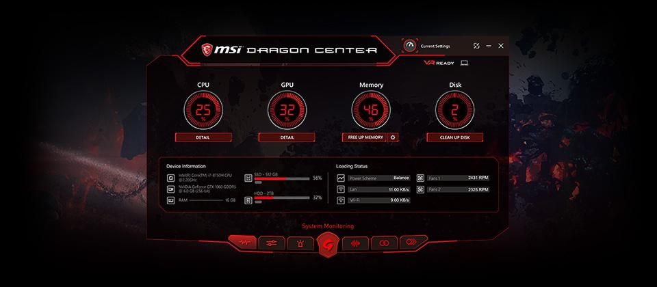MSI Dragon Center Software Window