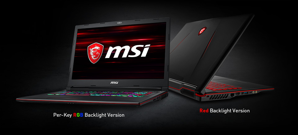 Two Gigabyte GL73 Gaming Laptops, the Per-Key RGB Keyboard Backlight Version is Open Angled to the Left with the MSI logo as its screenfill and the red backlight keyboard version is slightly open, angled away to the right