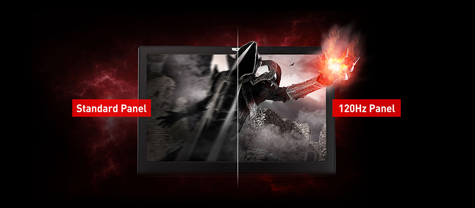 Gigabyte GL73 Gaming Laptop's Screen Split Showing a Hooded Sorceror with Fire in His Gauntleted Hand, the left the screen shows a blurry standard panel quality while the right half shows crisp and clear 120Hz