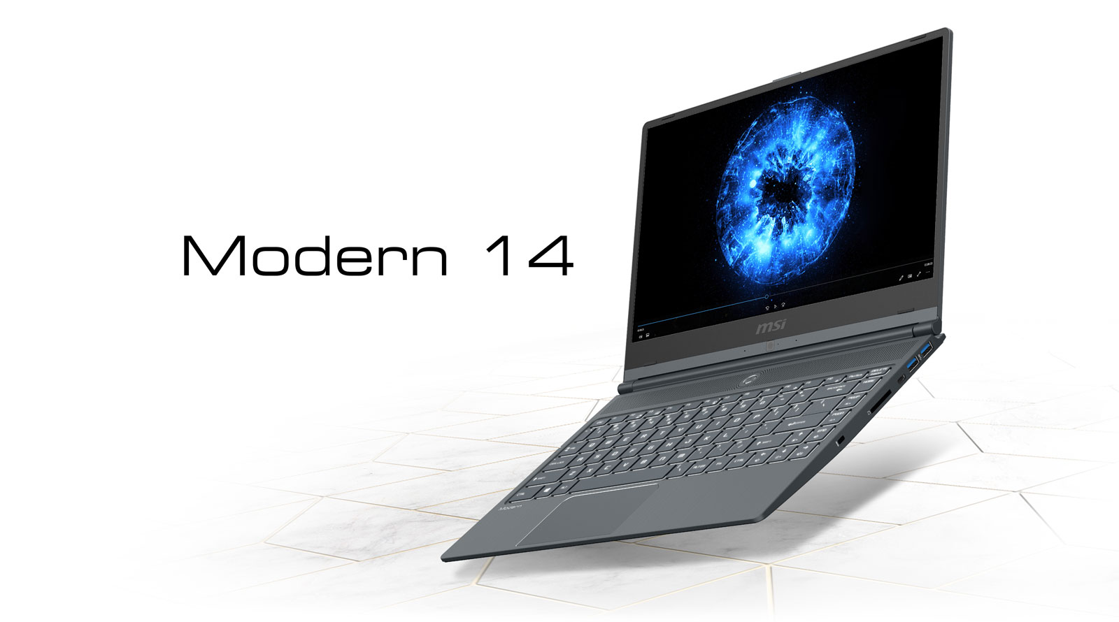 Modern 14 Laptop Widely Open and Angled to Left a Little, with Blue Aspects Video Playing on Its Screen. Text on Its Left Reads: Modern 14
