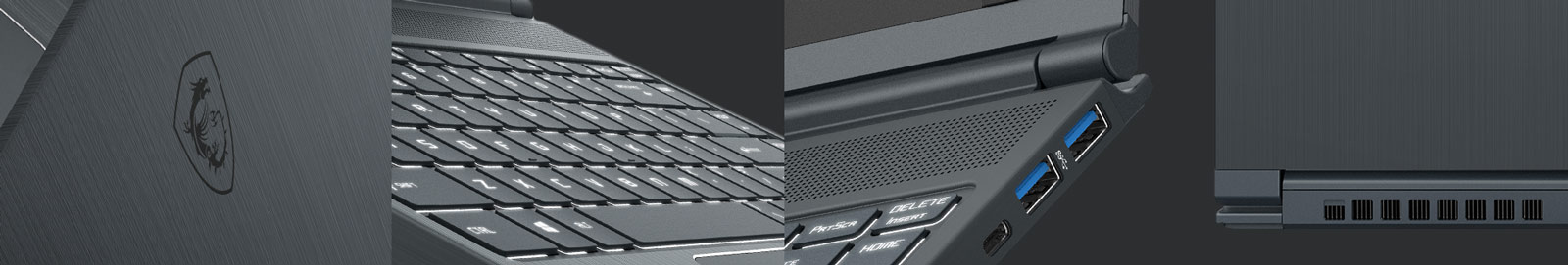 Four Angles of View about Modern 14's Details: Back Cover, Keyboard, USB Ports and Exhaust Vents