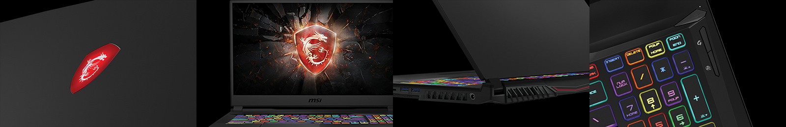 Four Different Views to Show MSI GL65: Front Cover, Screen,  Exhaust Vents and Keyboard