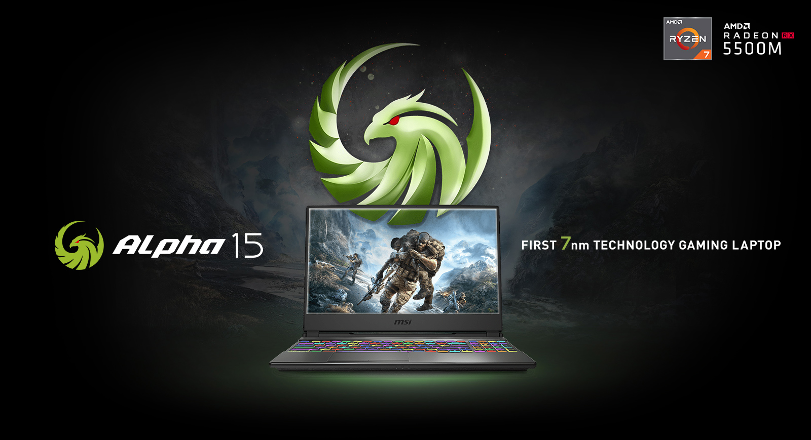 MSI Alpha 15 laptop with a game screenshot as screen and alpha logo is on the top of it