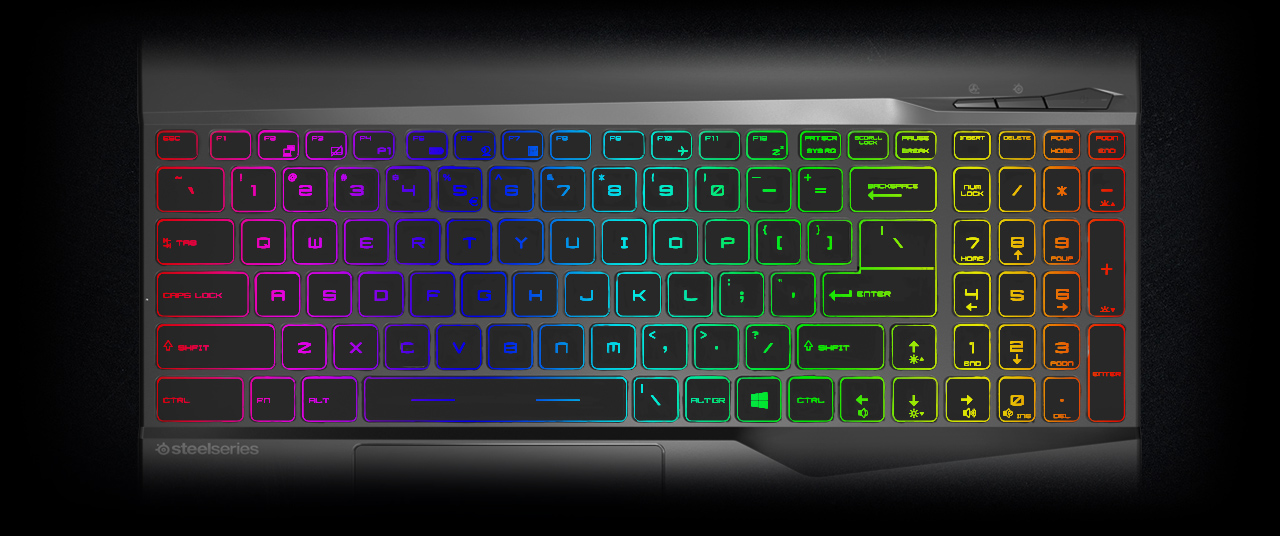 a keyboard in colorful light