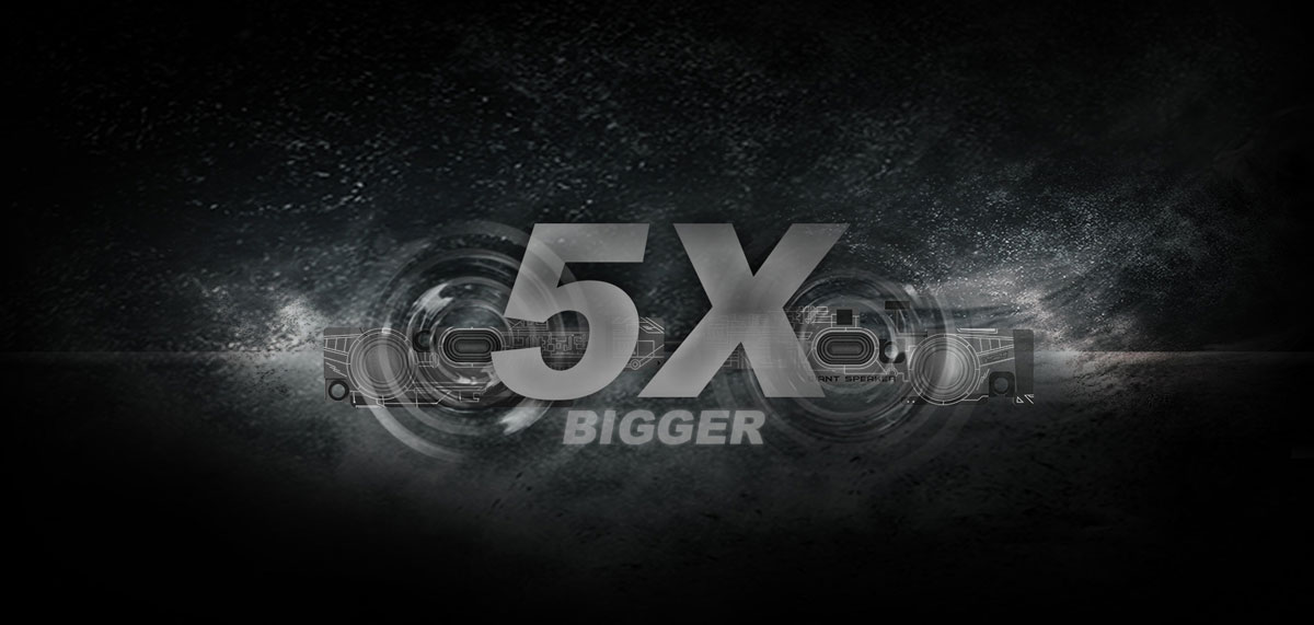 "Speakers of the laptop with sound waves, with stylized texts reading as ""5x bigger"" in the middle"
