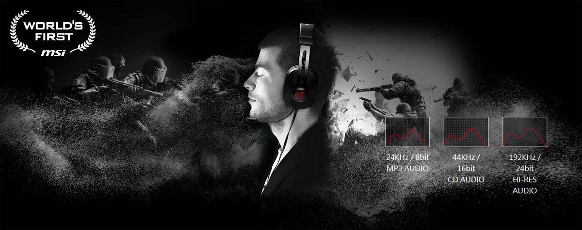 The profile of man enjoying sound from a headset. The background is a FPS game scene.