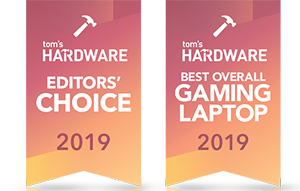 Icons for Tom's Hardware Editors' Choice Award 2019 and Tom's Hardware Best Overall Gaming Laptop Award 2019