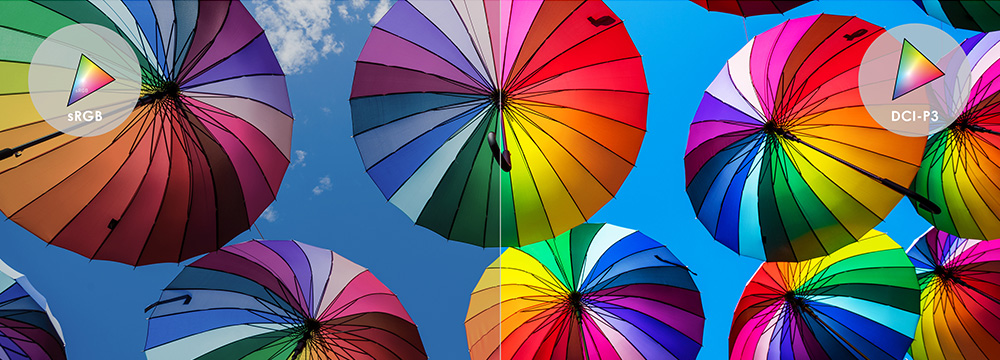 An image full of colorful umbrella: The left side shows sRGB technology and right side shows vivider color.