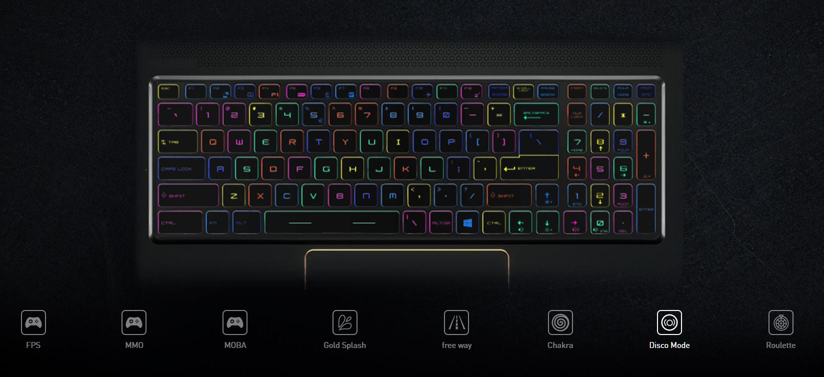 Backlit keyboard, lighting effects.
