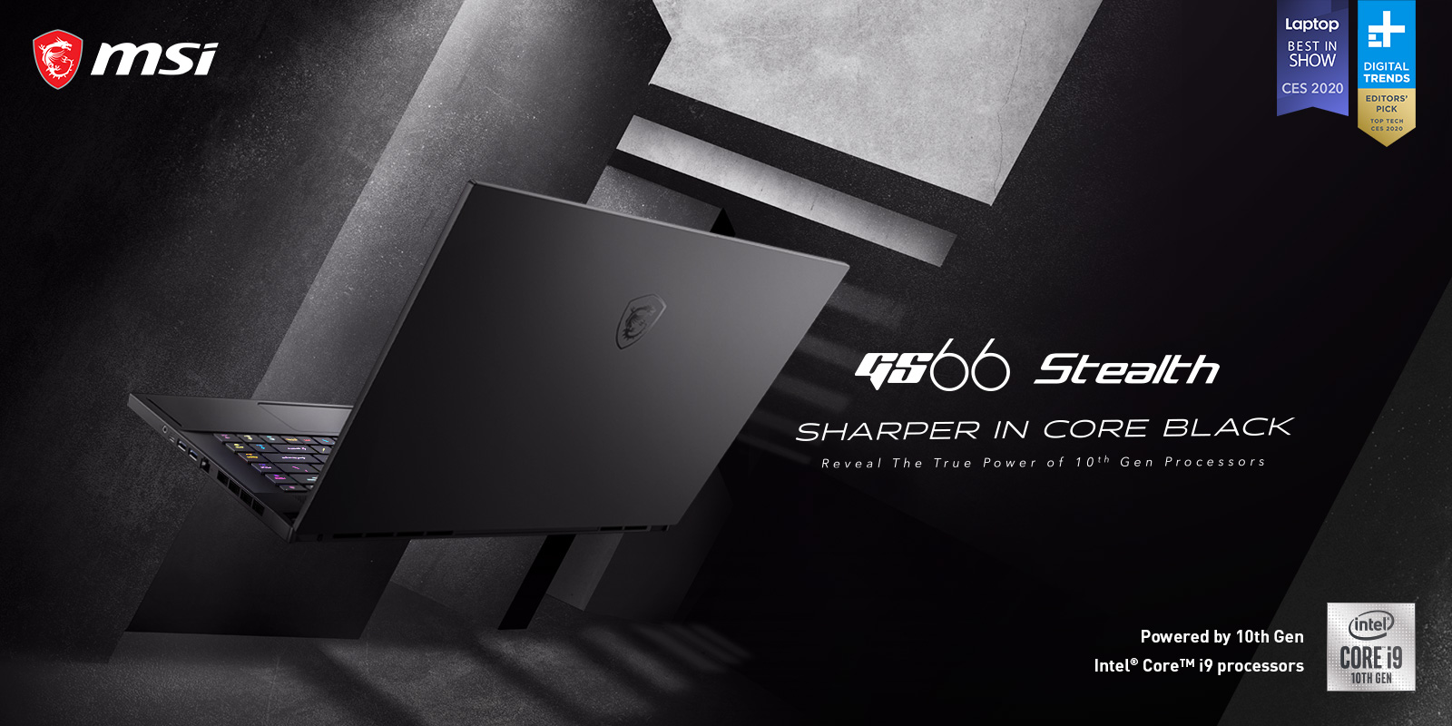 Hero Image: GS66 Stealth product image. The text on the right says: GS66 Stealth. SHARPER IN CORE BLACK. Reveal The True Power of 10th Gen Processors