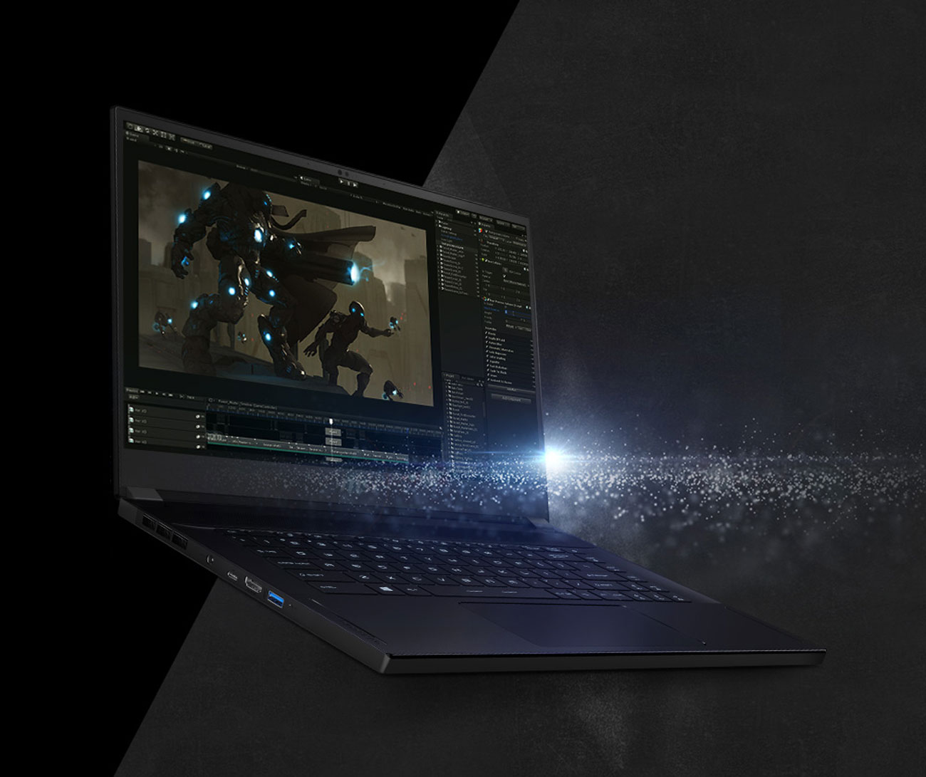 laptop with a game screenshot as screen