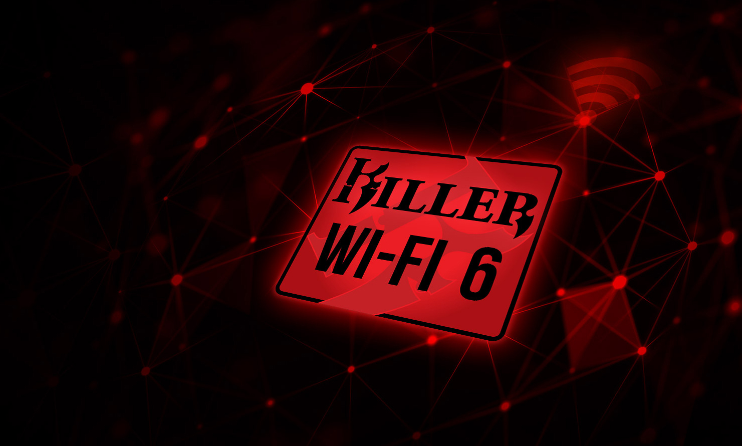 wifi 6 icon in a red abstract background