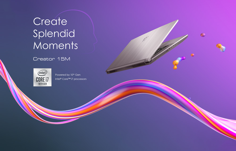 Hero Image: Creator 15M flys on the purple background. The text next to it says: Create Splendid Moments, Creator 15M.