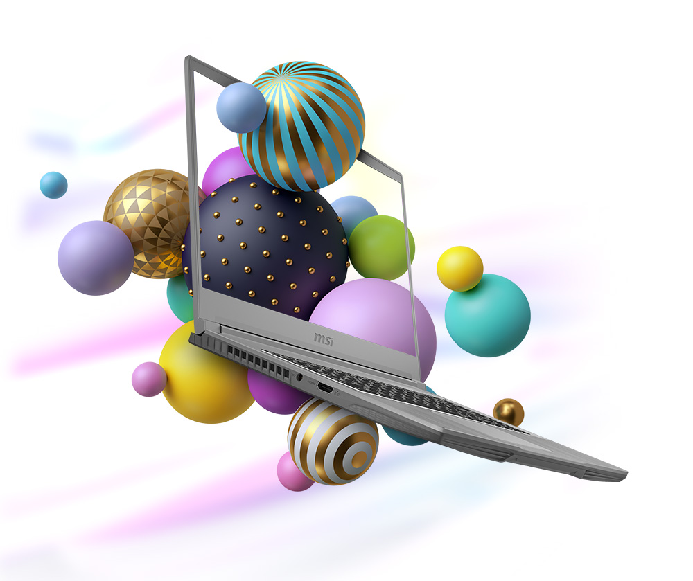 Widely Opened. Colorful ball arts around the screen.