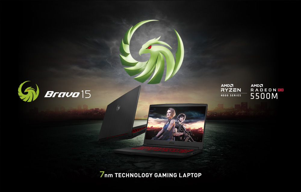 Hero Image: Bravo 15 logo and Product Image. The text says: Bravo 15. 7nm TECHNOLOGY GAMING LAPTOP