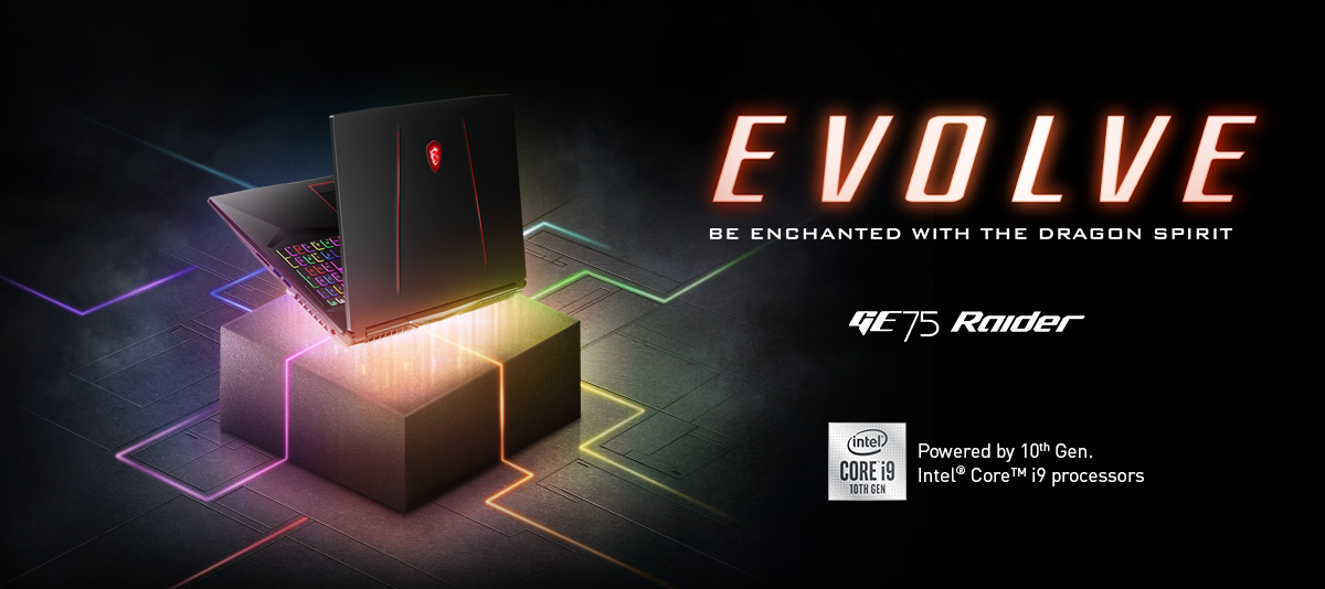 Hero Image: The text says: EVOLVE - BE ENCHANTED WITH THE DRAGON SPIRIT. GE75 Stealth.