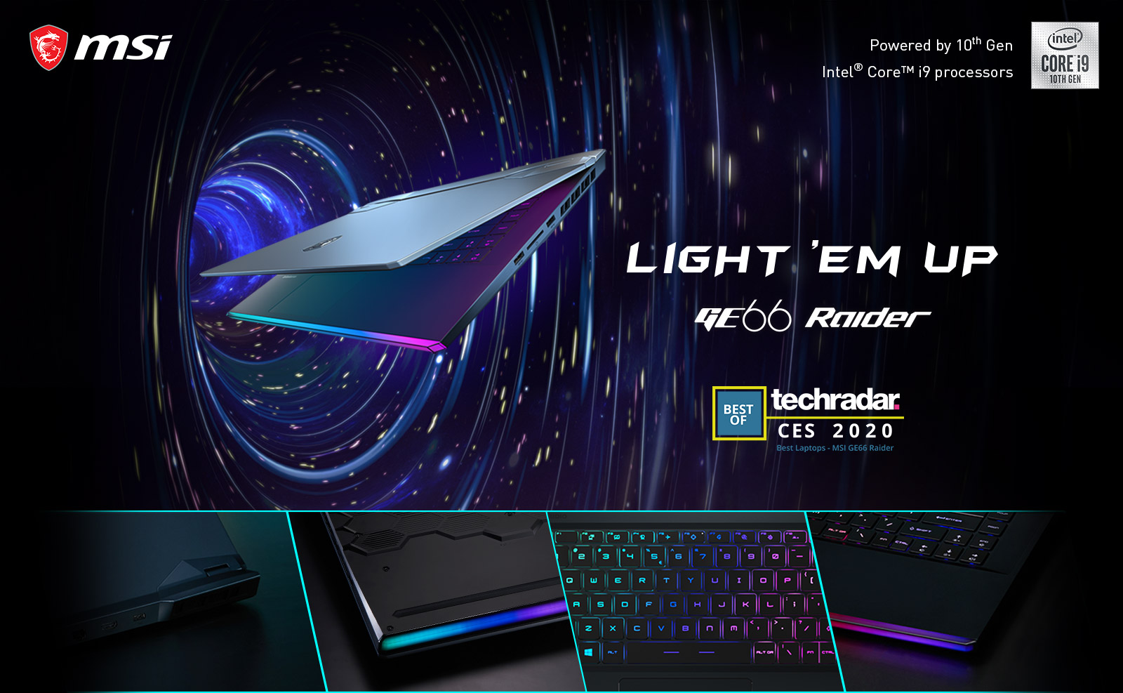 Hero Image: The text says: LIGHT 'EM UP - GE66 RAIDER. Below it there are four different details view.