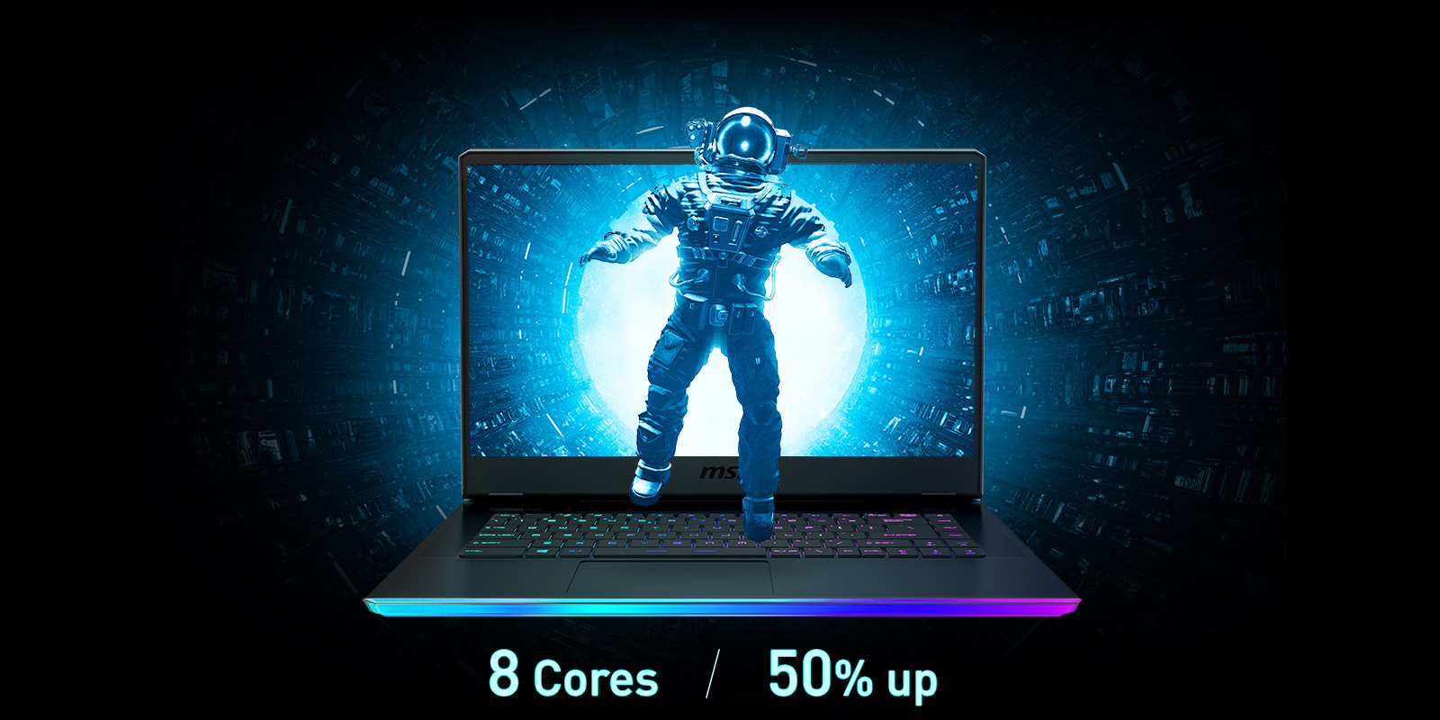 An astronaut is coming out from laptop screen. Text below says: 8 Cores / 50% Up