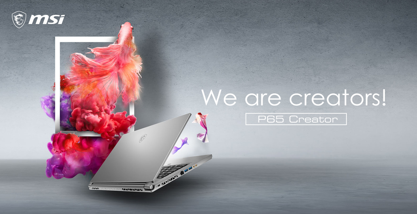 Hero Image: P65 Creator product image. The text on the right says: We are creators! P65 Creator