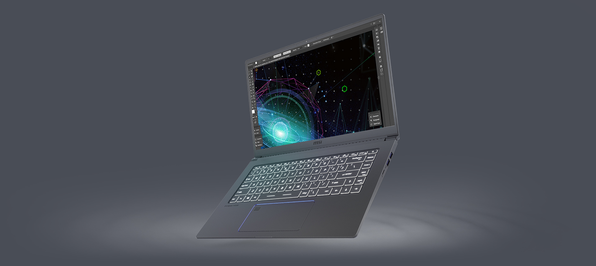Prestige 15 Opens Widely and Angled to Left A Little with Video Editing on Its Screen