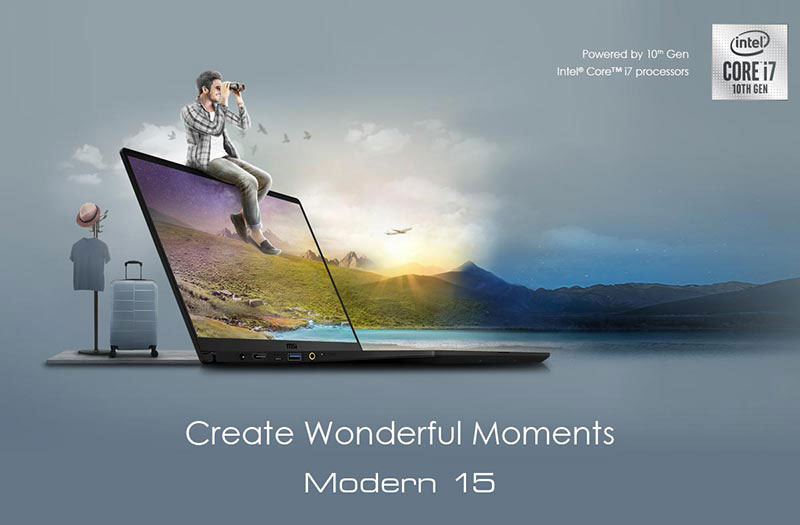 Hero Image: Modern 15 Widely Opened and Vivid Landscape as background. Text Blow Reads: Create Wonderful Moments - Modern 15