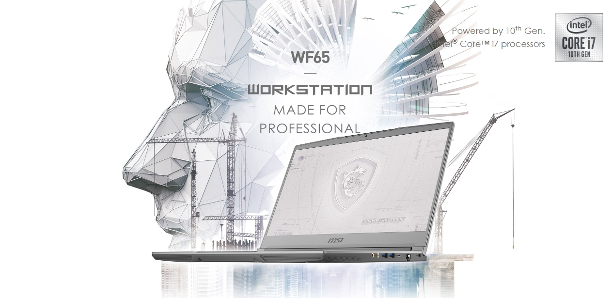 Hero Image: The text says: WF65 WORKSTATION MADE FOR PROFESSIONAL.
