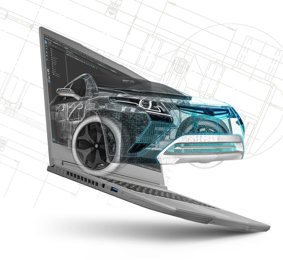 A digital car comes out of the screen.