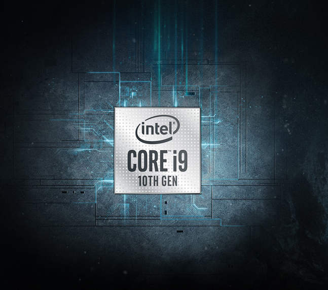 Intel Core i9 10th Gen in the center.