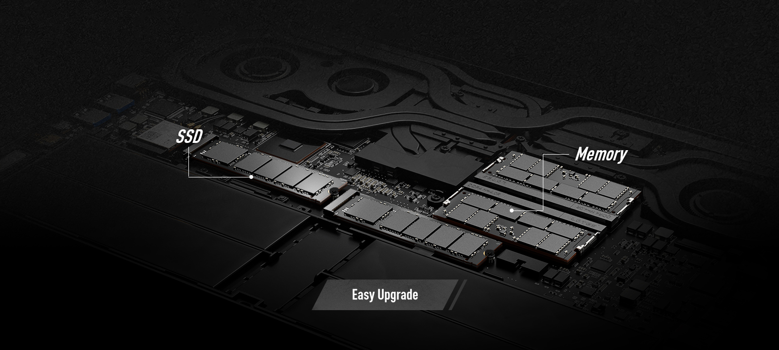 GS66 Stealth's expansion slots: Easy Upgrade memory and SSD.