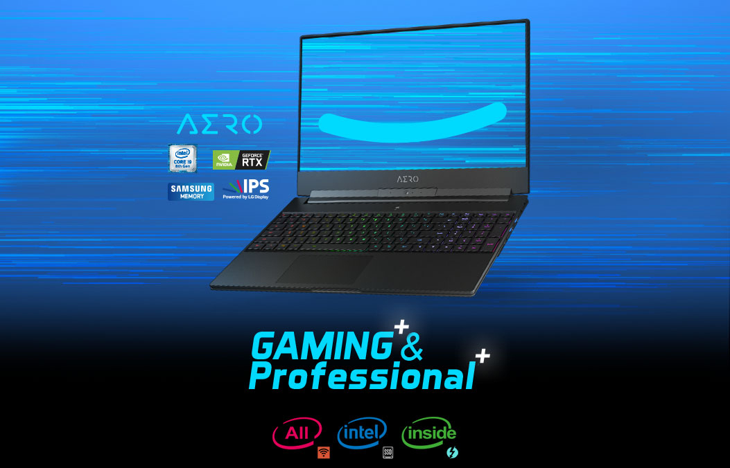 GIGABYTE Aero 15 Gaming Laptop open, facing slightly to the left with logos for Intel Core i9, GeForce RTX, Samsung Memory, IPS LG Display and Intel WiFi, Intel SSD and Intel Power. There is also text that reads: Gaming & Professional